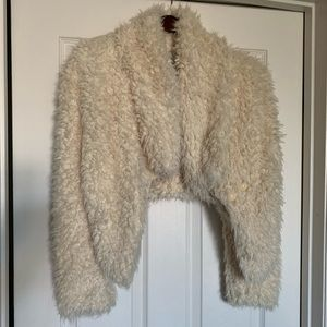 Faux fur/ teddy crop jacket